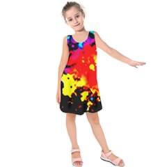 Colorfulpaintsptter Kids  Sleeveless Dress