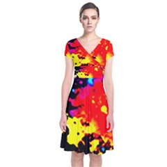 Colorfulpaintsptter Short Sleeve Front Wrap Dress