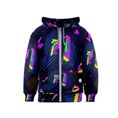 Background Designs Cool Zig Zags Kids  Zipper Hoodie