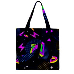 Background Designs Cool Zig Zags Zipper Grocery Tote Bag