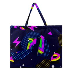 Background Designs Cool Zig Zags Zipper Large Tote Bag