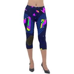 Background Designs Cool Zig Zags Lightweight Velour Capri Leggings
