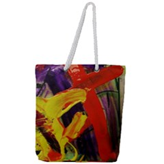 Fish And Bread1/2 Full Print Rope Handle Tote (large)