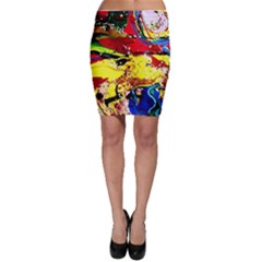 Yellow Roses 3 Bodycon Skirt