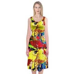 Yellow Roses 3 Midi Sleeveless Dress