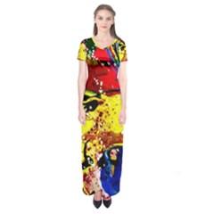 Yellow Roses 3 Short Sleeve Maxi Dress