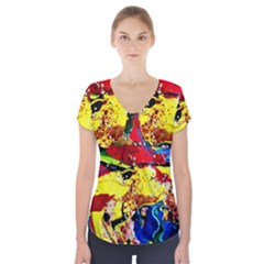 Yellow Roses 3 Short Sleeve Front Detail Top