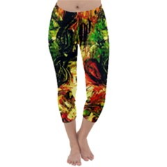 Sunset In A Desert Of Mexico Capri Winter Leggings