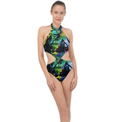 Rumba On A Chad Lake 10 Halter Side Cut Swimsuit