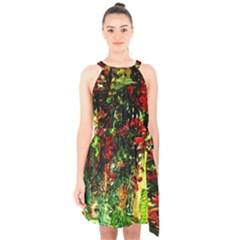 Resort Halter Collar Waist Tie Chiffon Dress