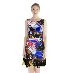 Smashed Butterfly 5 Sleeveless Waist Tie Chiffon Dress