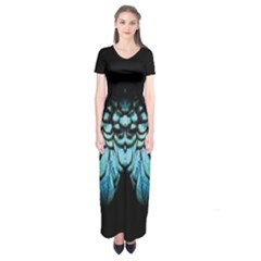 Blue And Green Feather Collier Short Sleeve Maxi Dress