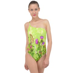 Butterflies Classic One Shoulder Swimsuit