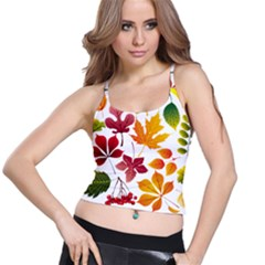 Beautiful Autumn Leaves Vector Spaghetti Strap Bra Top