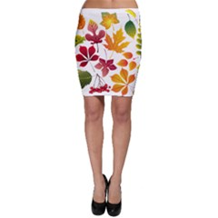Beautiful Autumn Leaves Vector Bodycon Skirt