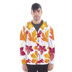 Beautiful Autumn Leaves Vector Hooded Wind Breaker (men)