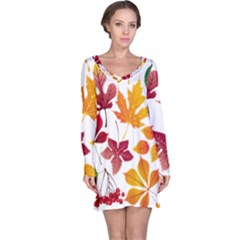 Beautiful Autumn Leaves Vector Long Sleeve Nightdress