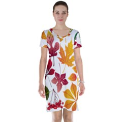 Beautiful Autumn Leaves Vector Short Sleeve Nightdress