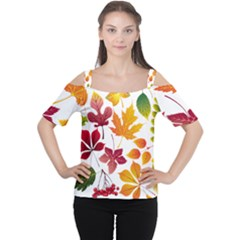 Beautiful Autumn Leaves Vector Cutout Shoulder Tee