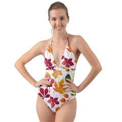 Beautiful Autumn Leaves Vector Halter Cut Out One Piece Swimsuit