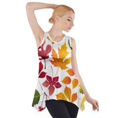 Beautiful Autumn Leaves Vector Side Drop Tank Tunic