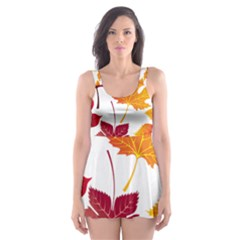 Beautiful Autumn Leaves Vector Skater Dress Swimsuit