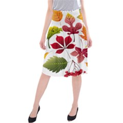 Beautiful Autumn Leaves Vector Midi Beach Skirt