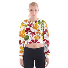 Beautiful Autumn Leaves Vector Cropped Sweatshirt