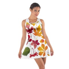 Beautiful Autumn Leaves Vector Cotton Racerback Dress by Nexatart