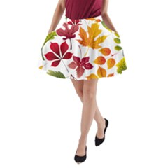 Beautiful Autumn Leaves Vector A Line Pocket Skirt