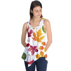 Beautiful Autumn Leaves Vector Sleeveless Tunic