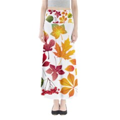 Beautiful Autumn Leaves Vector Full Length Maxi Skirt