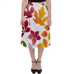 Beautiful Autumn Leaves Vector Folding Skater Skirt