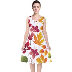 Beautiful Autumn Leaves Vector V Neck Midi Sleeveless Dress