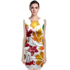 Beautiful Autumn Leaves Vector Classic Sleeveless Midi Dress