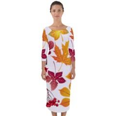 Beautiful Autumn Leaves Vector Quarter Sleeve Midi Bodycon Dress