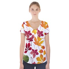 Beautiful Autumn Leaves Vector Short Sleeve Front Detail Top