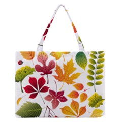 Beautiful Autumn Leaves Vector Zipper Medium Tote Bag
