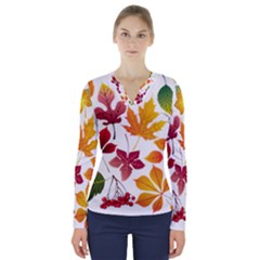 Beautiful Autumn Leaves Vector V Neck Long Sleeve Top