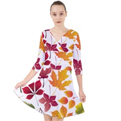 Beautiful Autumn Leaves Vector Quarter Sleeve Front Wrap Dress