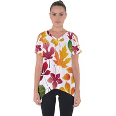 Beautiful Autumn Leaves Vector Cut Out Side Drop Tee