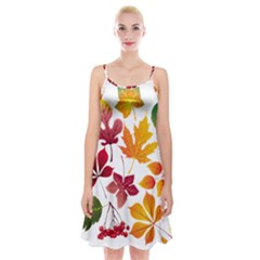 Beautiful Autumn Leaves Vector Spaghetti Strap Velvet Dress