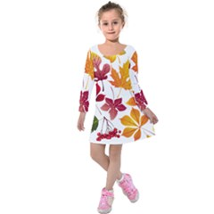 Beautiful Autumn Leaves Vector Kids  Long Sleeve Velvet Dress