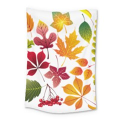 Beautiful Autumn Leaves Vector Small Tapestry