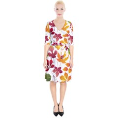 Beautiful Autumn Leaves Vector Wrap Up Cocktail Dress