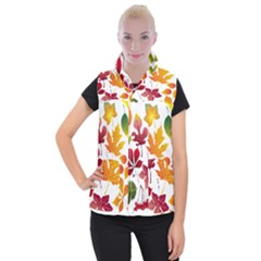 Beautiful Autumn Leaves Vector Women s Button Up Vest