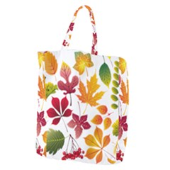 Beautiful Autumn Leaves Vector Giant Grocery Zipper Tote