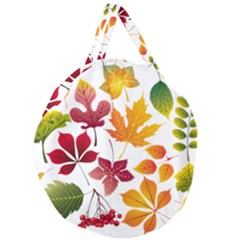 Beautiful Autumn Leaves Vector Giant Round Zipper Tote by Nexatart