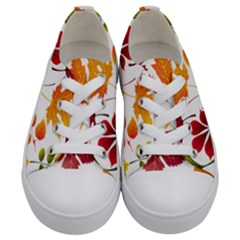 Beautiful Autumn Leaves Vector Kids  Low Top Canvas Sneakers