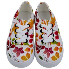 Beautiful Autumn Leaves Vector Kids  Classic Low Top Sneakers